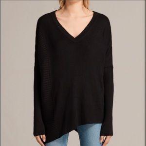 All Saints Keld Olivo V Neck Sweater Asymmetric